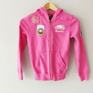 Roots Girls Pink Embroidered Patch Hoodie Age 7-8